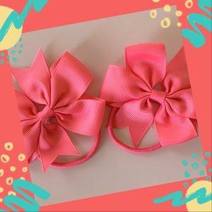 👶5/$25 Coral Rose Elastic Hair Ties Ponytail
